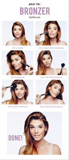 To Apply Bronzer In 5 Easy Steps The best way to apply bronzer: tips and from celebrity makeup artist Lauren Andersen. //The best way to apply bronzer: tips and from celebrity makeup artist Lauren Andersen. Bronzer Tutorial, Make Up Tutorial Contouring, Too Faced Bronzer, Bronze Makeup, Eye Makeup, Hair Makeup, Makeup Brushes, Pink Makeup, Eyeshadow Brushes