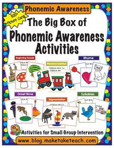 Over 500 colorful pictures for teaching syllables, rhyme, onset-rime, beginning sounds, phoneme isolation and segmentation.  Activity and common core alignment cards provided! Teaching Phonics, Phonics Activities, Teaching Reading, Phonics Centers, Reading Tutoring, Kindergarten Phonics, Preschool Literacy, Reading Intervention, Work Activities