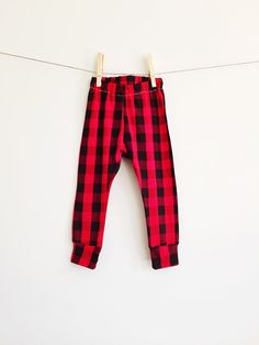 Newborn Baby Toddler Kids Cuff Leggings // Red Black Check Buffalo Plaid Knit Leggings // Plaid Pants //