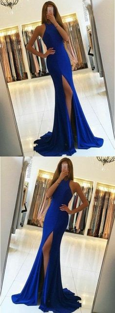 Royal blue prom dresses,simple mermaid prom dress,sexy split prom party dresses,long prom dress 10725 #longpromdresses