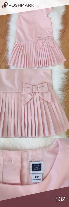 🎀 Janie and Jack Baby Pink Dress Size 2T 🎀 Super cute Janie and Jack Baby Pink Dress Size 2T Shell: 66% polyester, 33% Rayon & 1% spandex  Lining 100% cotton  Excellent condition with no holes or stains. ✨Buy before it sells out✨ NO TRADES! NO HOLDS!  ALL OF MY ITEMS COME FROM SMOKE FREE, AND PET FREE HOME. Janie and Jack Dresses