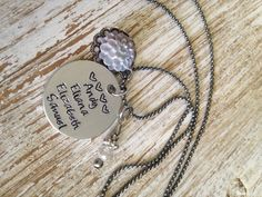 Child Name Necklace - Hand stamped disc with rustic gray flower charm clear bead charm / Name jewelry / Mom necklace / Grandma necklace (21.50 USD) by RusticRoseDesigns1