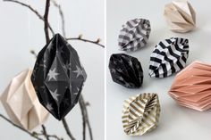 paper diamonds, geometric ornaments