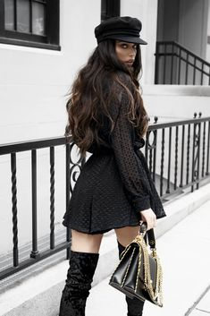 Been M.I.A for a bit but I will be back to my regular blogging routine but first just wanted to share soem of my outfits this week This little Black romper from Lioness Fashion is perfect paired with thigh high booties for that more chic look. I accessorized with a cute little beret that ha
