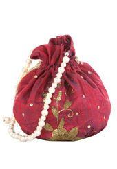 Maroon Art Silk Potli Bag