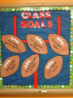 Classroom management for upper elementary can be a challenge. Try this teacher vs students classroom management game - Football Bulletin Boards, Classroom Bulletin Boards, Classroom Door, School Classroom, Classroom Organization, Classroom Management, Classroom Ideas, Preschool Bulletin, Classroom Rules