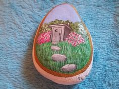 Old Outhouse Acrylic Painted on a Rock