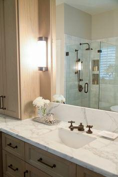 Master bathroom remodel, shower, free standing bath tub, Calacatta countertop | Interior designer: Carla Aston/ Photographer: Tori Aston