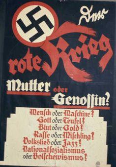 """NSDAP-Plakat in der Weimarer Republik """"Der rote Krieg"""", 1930"""