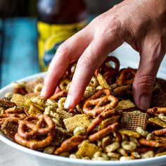 Nuts and bolts with ranch seasoning that's homemade and really tastes like ranch! Everyone at your party will be addicted and asking for the recipe.