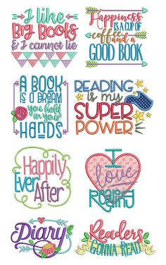 8 cute reading word art quotes! Great for reading pocket pillows and book covers! Reading Word Art Set 1 design set available for instant download at designsbyjuju.com