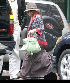 MARY-KATE OLSEN toting green Balenciaga Motorcycle City    UK's exclusive luxury authentic handbag SPA   Visit us on Facebook: www.facebook.com/DelortaeAgency