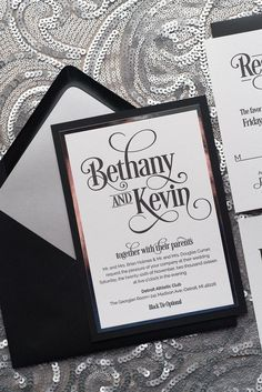 BETHANY Suite Fancy Romantic Package, black and silver, elegant wedding invitations, black tie, letterpress, luxury wedding invitations