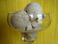 Banana Sorbet    2 ripe bananas, peeled and smashed    1/2 cup water    1/3 cup sugar    1 tsp. Lemon juice      1 tsp. cinnamon  Blend in ice cream machine for 25 min.
