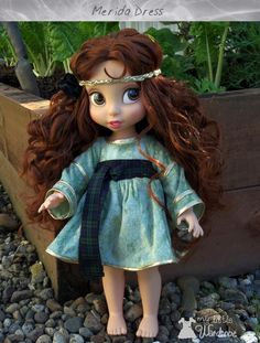 Disney Animator's doll clothes - This is a scottish themed dress I made for a Merida doll for a client