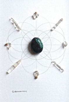 PEACE --- framed crystal grid ---turquoise, clear quartz--- sacred geometry