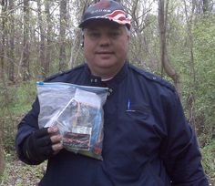 that is me holding a plastic freezer bag I found in a geocache