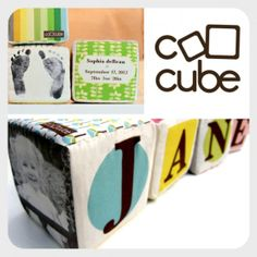 Really cool baby gift idea! Soft, fabric cubes with family pictures on them.