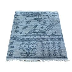Wool and Silk Hand-knotted Oushak Rug