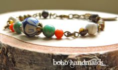 Women's Jewelry, Catholic Saint Bracelet, St. Anthony and St. Francis, Turquoise, Coral, Bronze Chain, Adjustable, Religious Gift, Bohemian by…