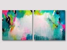 TITLE: Smile because it happened  2 parts original fine art acrylic painting on stretched canvases.
