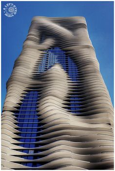 """Aqua Building"" in Chicago. The 86-story high-rise apartment building was designed by Jeanne Gang of Studio Gang Architects. It is the tallest building in the world to have a woman as chief architect. Completed in 2010."