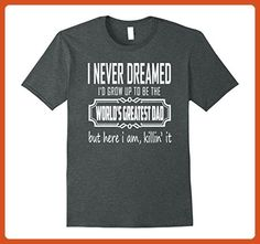 Mens The World's Greatest Dad T-shirt XL Dark Heather - Relatives and family shirts (*Partner-Link)