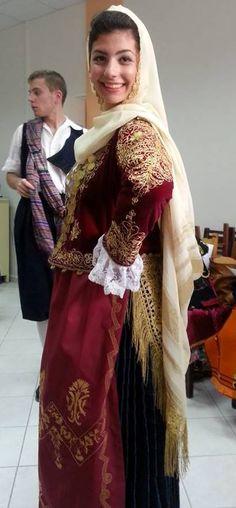 Λύκειο Ελληνίδων Άργους / Greek Lyceum of Argos - traditional costume of Mégara, Greece Greek Traditional Dress, Traditional Outfits, Attica Athens, Greek Royalty, Art Populaire, Greek Culture, Greek Apparel, Ethnic Dress, Greek Clothing