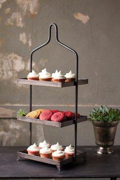 Three tiered cupcake and macaroon display