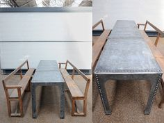 Large Industrial rivet Table. Reimagined vintage water tank of exceptional & unique proportions. With or without pews - old style modernism.  origin: UK