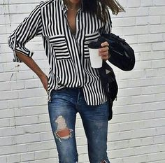 0f377438b6 Street style, casual outfit, spring chic, striped blouse, ripped jeans
