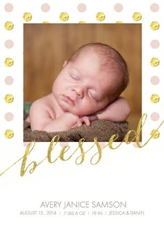 "birth announcement card ""blessed"""