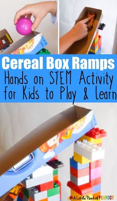 Cereal Box Ramps: Hands on STEM Activity for Kids to Play and Learn while exploring engineering and physics. Kids use blocks to build the ramp and then experiment with cars or other objects rolling down the ramp. Science Activities For Kids, Hands On Activities, Science Experiments, Science Centers, Enrichment Activities, Toddler Activities, Learning Activities, Kindergarten Stem, Preschool Science