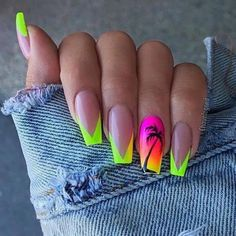 manicure-ideas-neon-green-yellow-orange-pink-black-palm-trees-denim-jacket #AcrylicNailsDesigns Orange Nail Designs, Easter Nail Designs, Nail Polish Designs, Cute Nail Designs, Acrylic Nail Designs, Yellow Nails, Green Nails, Solid Color Nails, Nail Colors