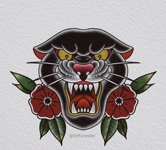 Traditional Black Tattoo, Traditional Panther Tattoo, Traditional Tattoo Old School, Traditional Tattoo Design, Old Tattoos, Body Art Tattoos, Desenhos Old School, Tatuagem Old Scholl, Atlas Tattoo