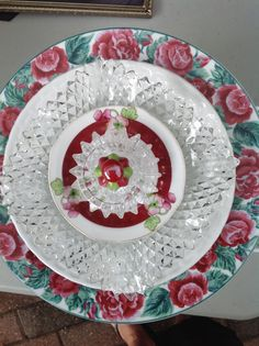 Roses  a pretty vintage plate. SOLD at Galveston Island Market  MiMi's Plate Flowers