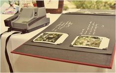 A fun twist on the guest book. Take your guests picture with a polaroid, pin it in the book and let them write their message next to it! :)