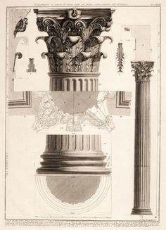 Piranesi, Giovanni Battista (1720 - 1778) - Corinthian Column (Architectural Details) [Engraving] (I've never seen a drawing from the underneath side. Truly amazing!)