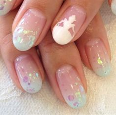 Wedding Nails-A Guide To The Perfect Manicure – NaiLovely Fabulous Nails, Gorgeous Nails, Love Nails, Fun Nails, Pretty Nails, Bling Nails, Nail Art Designs, Disney Nail Designs, Nails Design