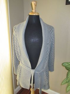 "Old Navy Gray Crochet Cardigan Sweater With Gold ""sparkles"" Size L #OldNavy #Cardigan"