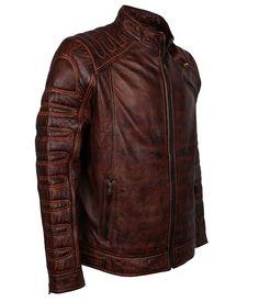 Mens Dark Brown Vintage Waxed Brando Biker Genuine Leather Jacket at Amazon Men's Clothing store: