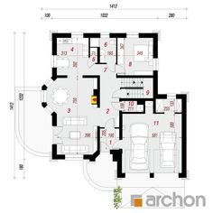 Dom w dąbrówkach Contemporary House Plans, Construction Design, Floor Plans, Houses, How To Plan, Interior, Two Story Houses, Home Plans, American Houses