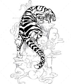 Yakuza Tiger Tattoo - Tattoos Vectors