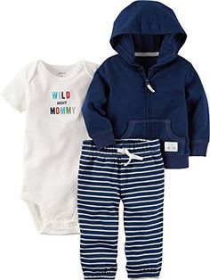 Amazon.com Carter s Baby Boys  3-Piece Cardigan Set Carters infant toddler  striped f6100c636