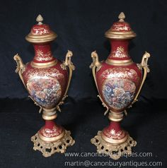 Pair German Meissen Porcelain Romantic Vases Urns