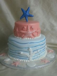 2-tier fondant finished sea themed birthday cake. Fondant shells and pearls.