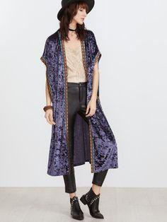 Kimono largo de terciopelo con bordado - violeta