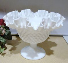 FENTON VINTAGE HOBNAIL MILK GLASS FOOTED BOWL 1970.  Part of my milk glass collection.