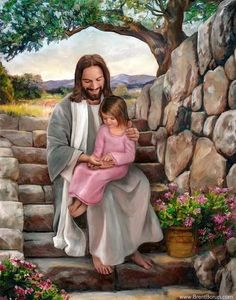 A fine art painting of Jesus Christ and a little girl touching His hands. Painting by Brent Borup. Many sizes available framed or as a single print. Jesus Christ Painting, Jesus Art, God Jesus, Pictures Of Jesus Christ, Jesus Love Images, Pictures Of God, Lds Pictures, Jesus Photo, Lds Art