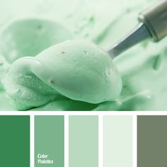 Dark emerald green, light smoky mint, pale greenish-gray, gray. This color scheme can be used to create a pleasant interior in pastel colors. The classic s.